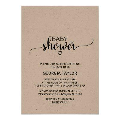 Rustic Kraft Calligraphy Baby Shower Invitation
