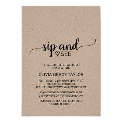 Rustic Kraft Calligraphy Sip and See Invitation