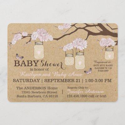 Rustic Kraft Modern Floral Hanging Jar Baby Shower Invitation