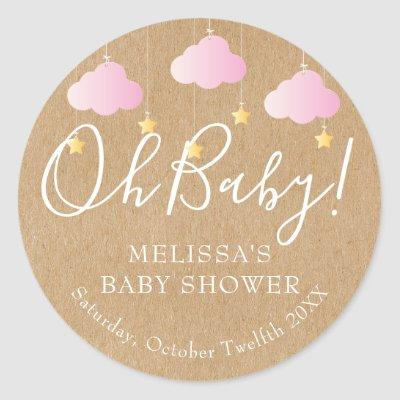 Rustic Kraft Twinkle Twinkle Oh Baby Baby Shower Classic Round Sticker
