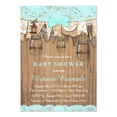 Rustic Lace Mason Jar Baby Shower Invitation