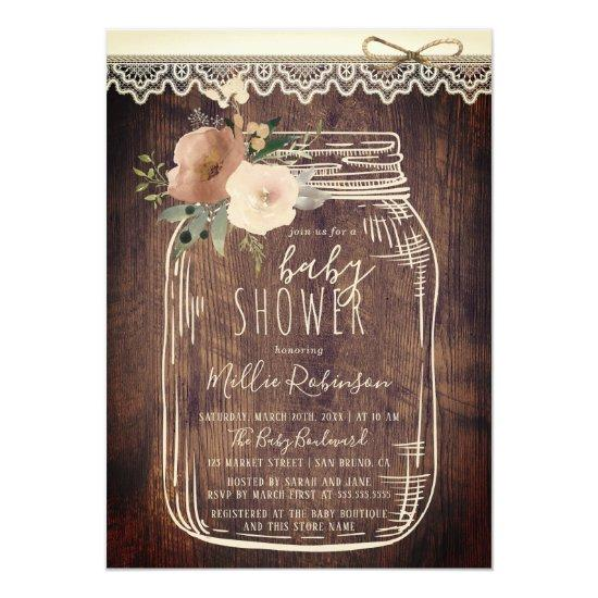 Rustic Lace & Twine | Floral Mason Jar Baby Shower Card