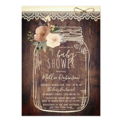 Rustic Lace & Twine | Floral Mason Jar Baby Shower Invitations