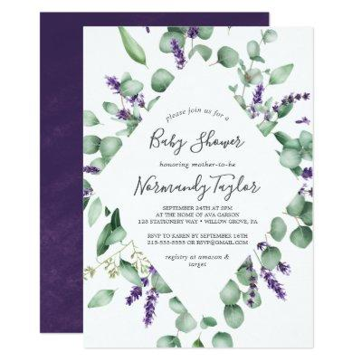 Rustic Lavender and Eucalyptus Baby Shower Invitation