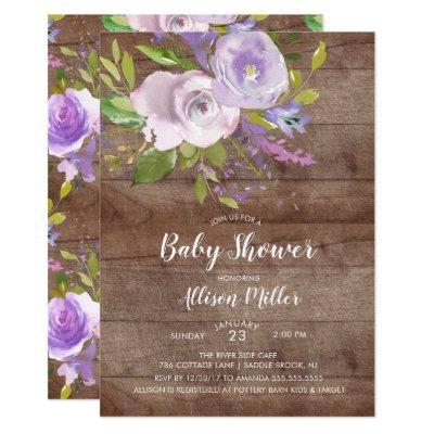 Rustic Lavender Floral Baby Shower Invitation