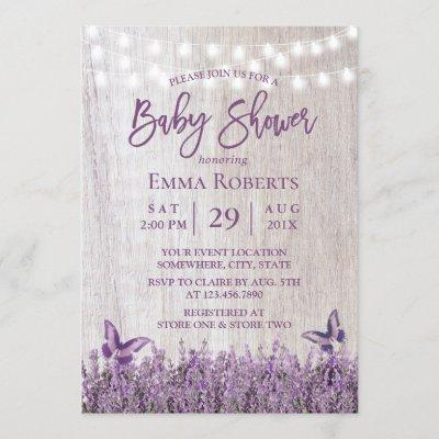 Rustic Lavender Floral Butterfly Wood Baby Shower Invitation