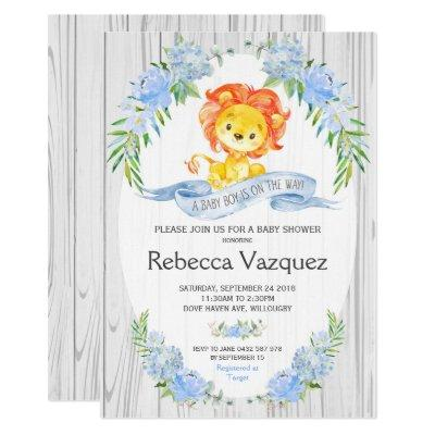 Rustic Lion Blue Floral Baby Shower Invitations
