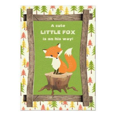 Rustic Little Fox Boy Invitations