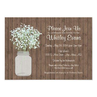 Rustic Mason Jar Bridal Shower Invitations on Wood