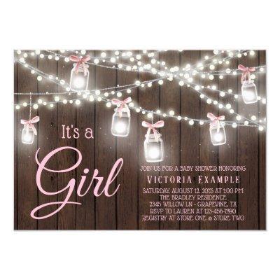 Rustic Mason Jar String Light Baby Girl Shower Invitation