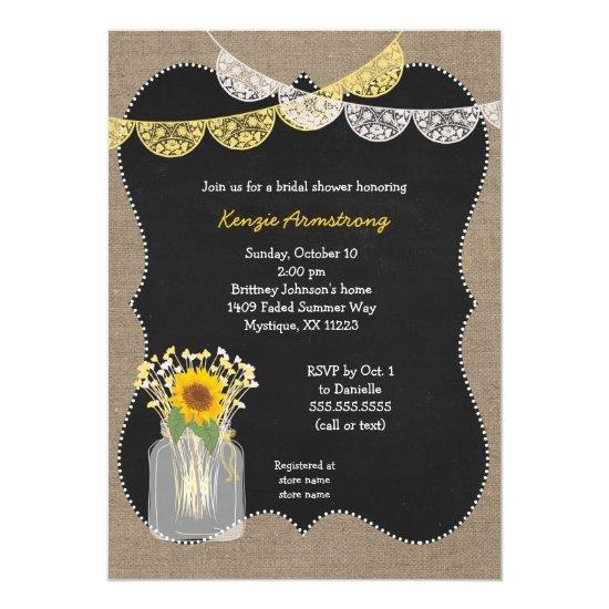 rustic mason jar with sunflowers baby's breath invitations | baby,