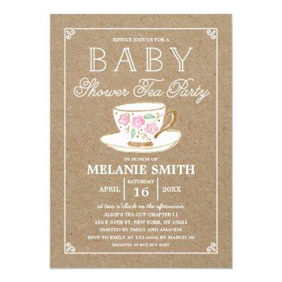 Rustic Modern Tea Party | Baby Shower Invitation