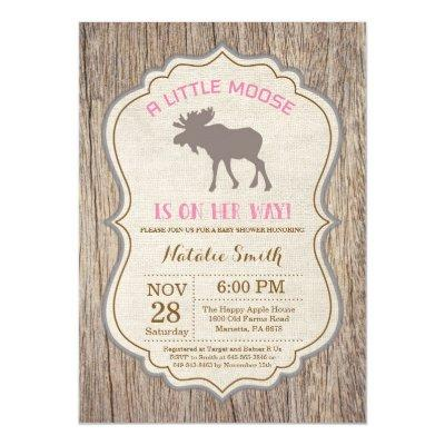 Rustic Moose Baby Shower Invitations Girl