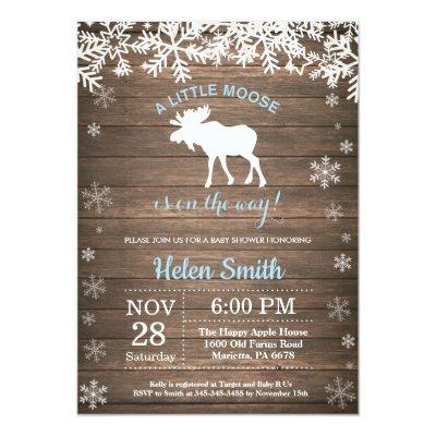 Rustic Moose Winter Snowflake Boy Baby Shower Invitation