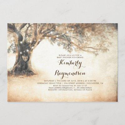 Rustic Oak Tree and String Lights Baby Shower Invitation