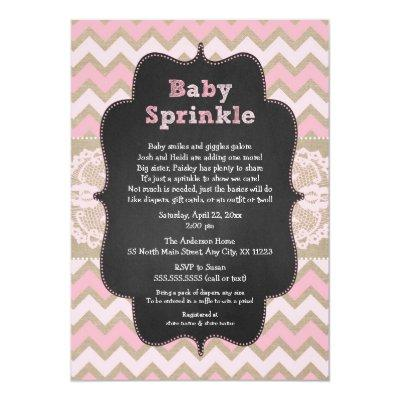 Rustic Pink Baby Sprinkle Invite, girl baby shower Invitation