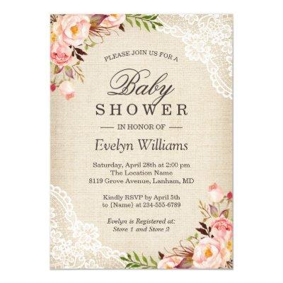 Rustic Pink Floral Ivory Burlap Lace Baby Shower Invitation