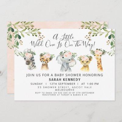 Rustic Pink Floral Safari Baby Shower Invitation