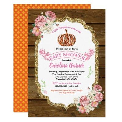Rustic pumpkin baby girl shower Invitations wood
