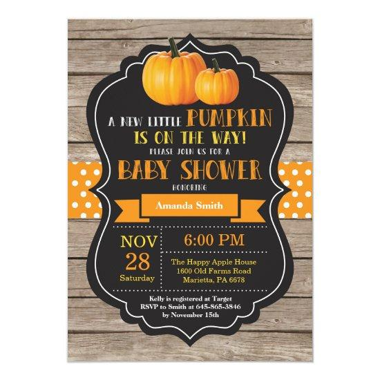 Rustic Pumpkin Baby Shower Invitation Card Wood
