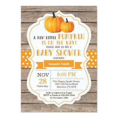 Rustic Pumpkin  Invitations Wood