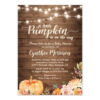 Rustic Pumpkin Baby Shower String Lights Floral Invitation