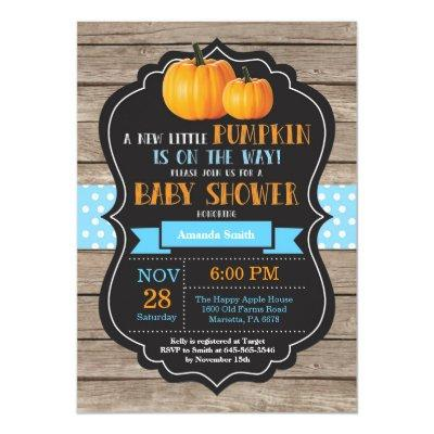 Rustic Pumpkin Boy  Invitations