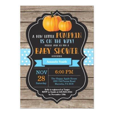 Rustic Pumpkin Boy Baby Shower Invitation Card