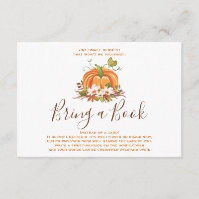 Rustic Pumpkin Bring a book Fall Autumn Shower Enclosure Card