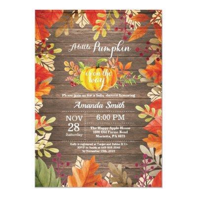Rustic Pumpkin Fall Baby Shower Invitation