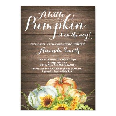 Rustic Pumpkin Fall Baby Shower Invitations