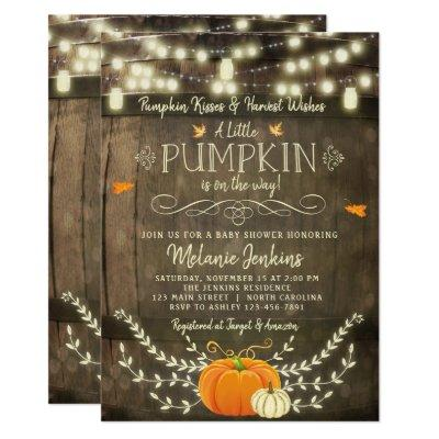Rustic Pumpkin Fall Baby Shower Invitations