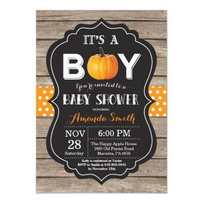 Rustic Pumpkin Fall Baby Shower Invitation Card