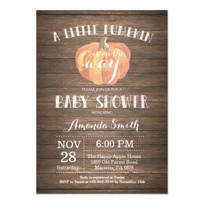 Rustic Pumpkin Fall Baby Shower Invitations Card