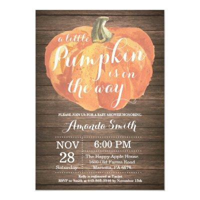 Rustic Pumpkin Fall Baby Shower Invitations Card