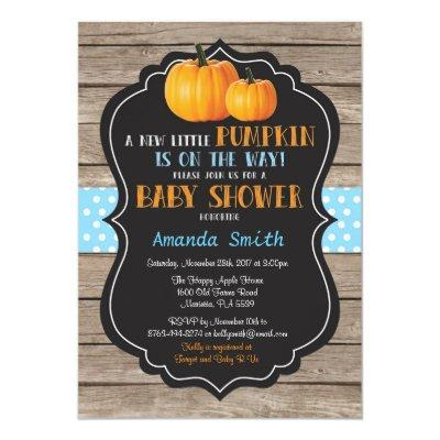 Rustic Pumpkin Fall Boy Baby Shower Invitation
