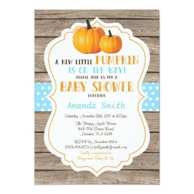 Rustic Pumpkin Fall Boy Invitations