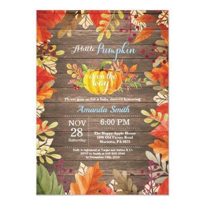 Rustic Pumpkin Fall Boy Baby Shower Invitation