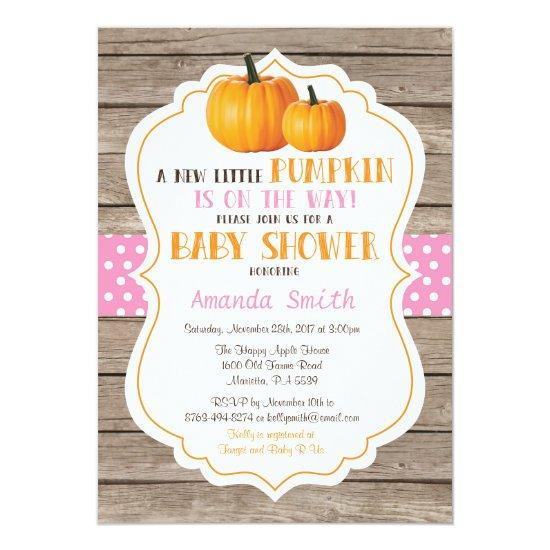 Rustic Pumpkin Fall Girl Baby Shower Invitations