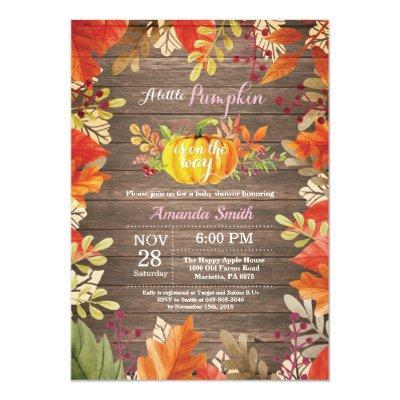 Rustic Pumpkin Fall Girl Baby Shower Invitation
