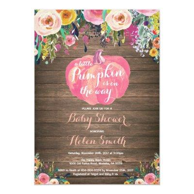 Rustic Pumpkin Floral Girl Baby Shower Invitations