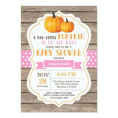 Rustic Pumpkin Girl  Invitations