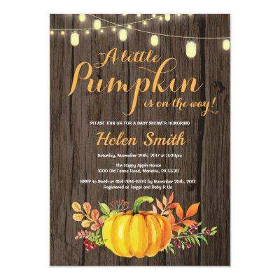 Rustic Pumpkin Mason Jar String Lights Baby Shower Invitations