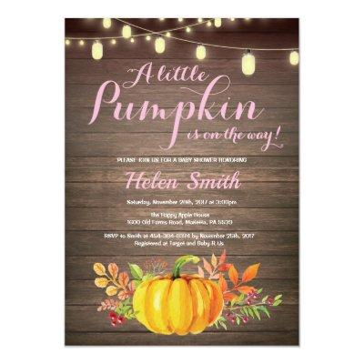 Rustic Pumpkin Mason Jar String Lights Baby Shower Invitation