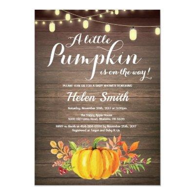 Rustic Pumpkin Mason Jar String Lights Baby Shower Invitations