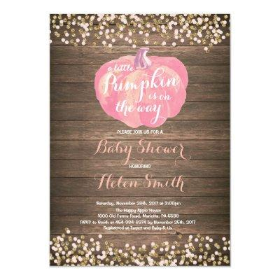 Rustic Pumpkin Pink Gold Baby Shower Invitation