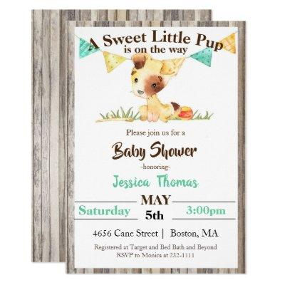 Rustic Puppy Boy Baby Shower Invitations