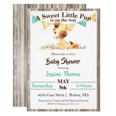 Rustic Puppy Dog Boy Baby Shower Invitation