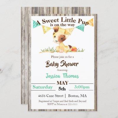 Rustic Puppy Dog Boy Baby Shower Invitation