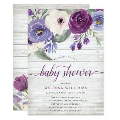 Rustic Purple Watercolor Floral Girl Baby Shower Invitation